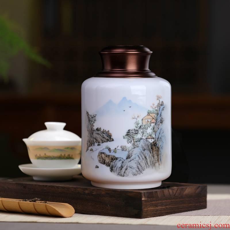 Jingdezhen caddy fixings small ceramic POTS sealed moisture - proof puer tea pot waking half jins of household storage POTS