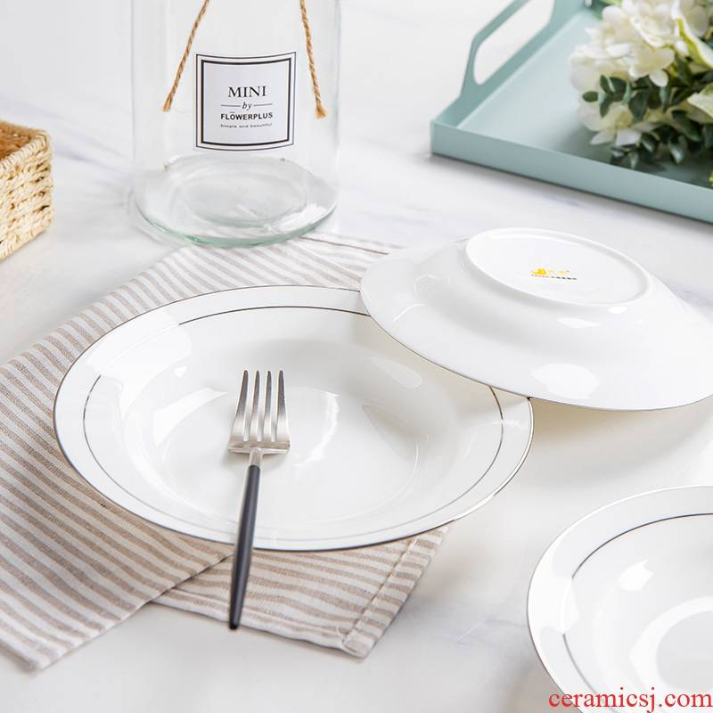 Is blank white ipads China creative up phnom penh dish soup plate round ceramic plate household FanPan fruit dish plate