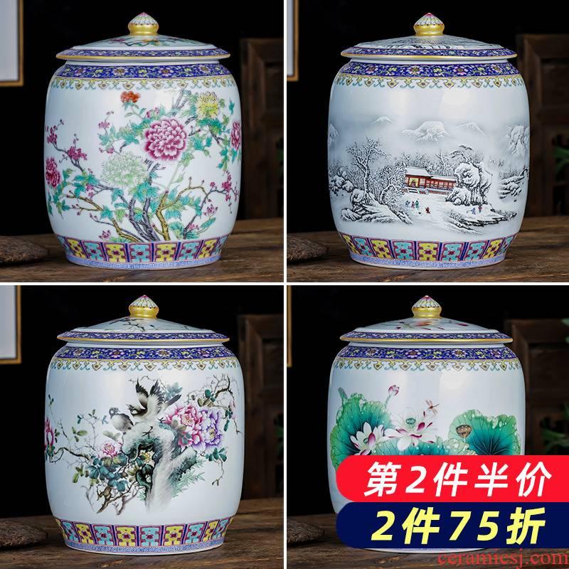 Jingdezhen ceramics colored enamel caddy fixings seal pot size 5 jins home 10 puer tea cake storage tanks