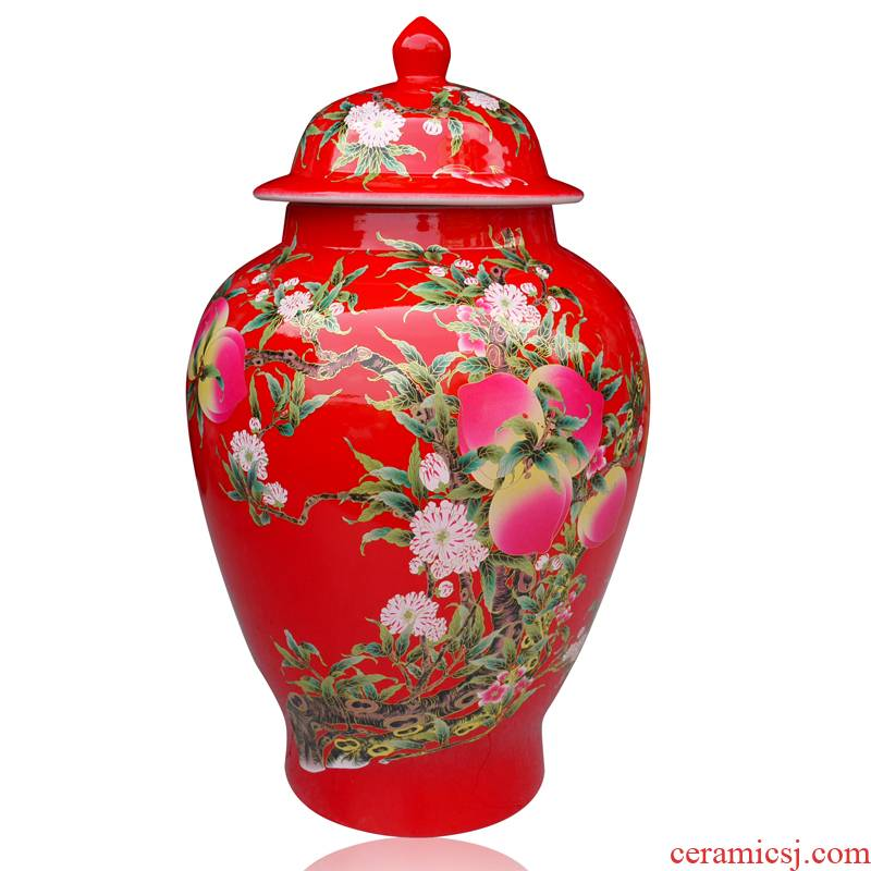 General festive Chinese red porcelain vase bottle ricer box with a cover General cylinder barrel surface peach as cans