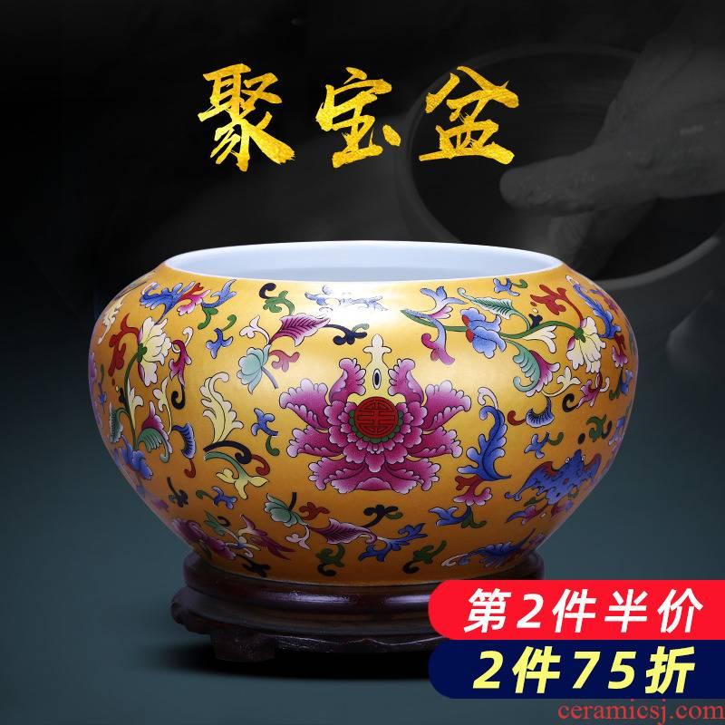 Feng shui plutus cornucopia of jingdezhen ceramics colored enamel tank hydroponic furnishing articles sitting room office decorations