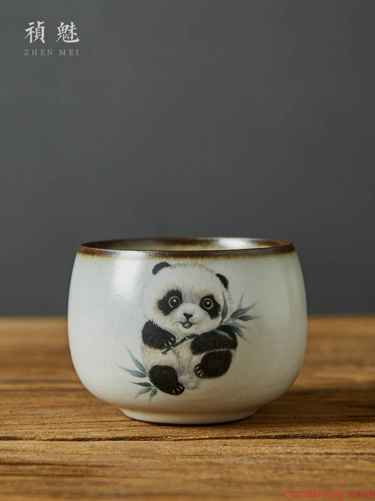 Shot incarnate your up hand - made panda master kung fu tea set sample tea cup cup of jingdezhen ceramics individual pieces of a single CPU