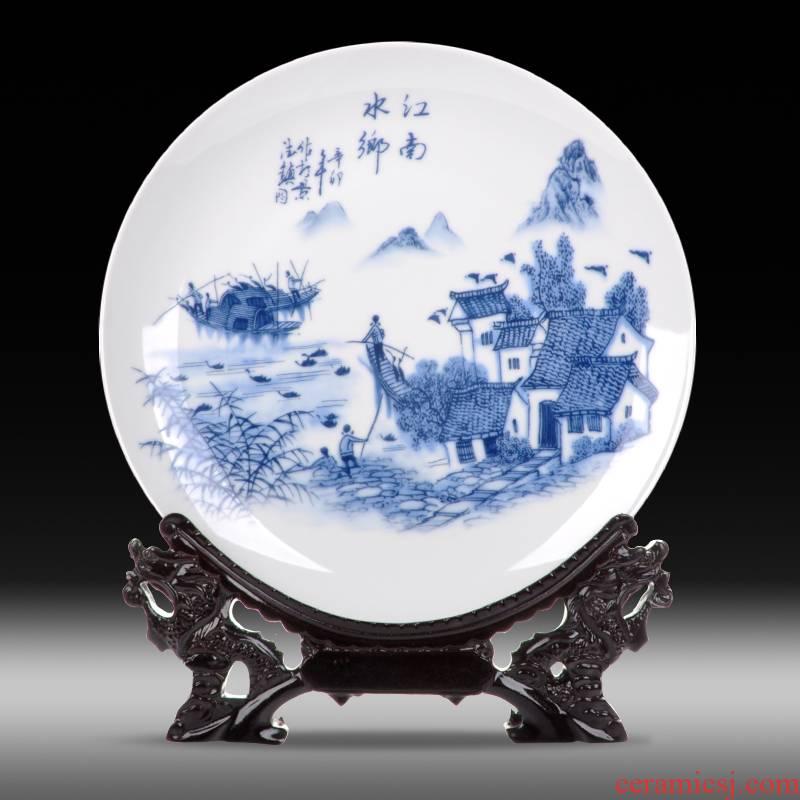 Jingdezhen ceramics sit hang dish dish plate of new Chinese style of jiangnan water sitting room adornment ornament desktop furnishing articles
