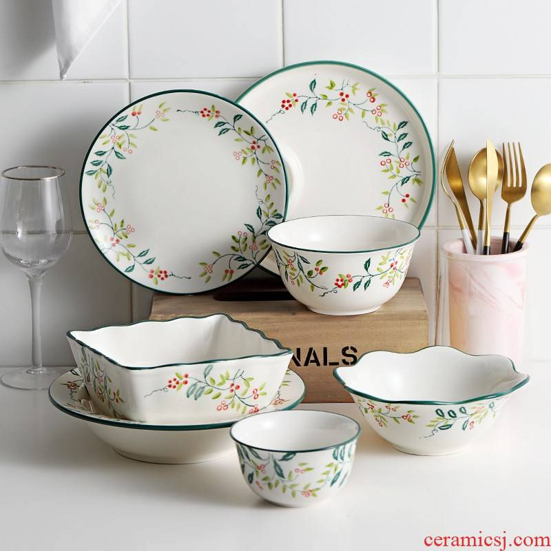 Dishes suit household ins dish exquisite Dishes Japanese good combination wind small lovely tableware ceramic bowl