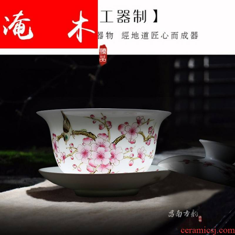 Submerged wood painting of flowers and tureen tea cup three manual kung fu tea bowl to bowl jingdezhen ceramic large pure hand draw pastel