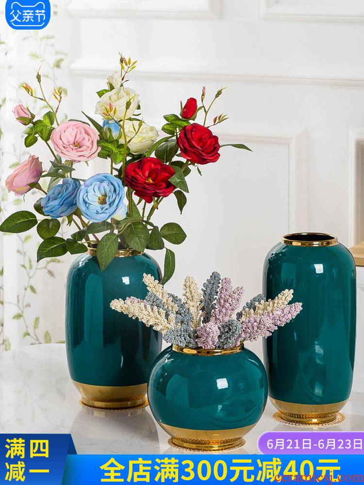 Jingdezhen ceramic vase furnishing articles table I and contracted Europe type household decorative dried flowers sitting room creative bottle arranging flowers