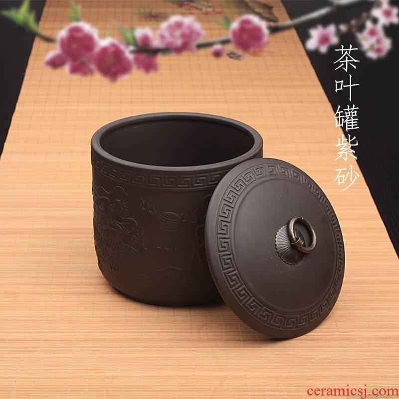 Qiao mu violet arenaceous caddy fixings to heavy ceramic code manual sealing wake pu 'er tea ware ricer box seven cake storage tanks