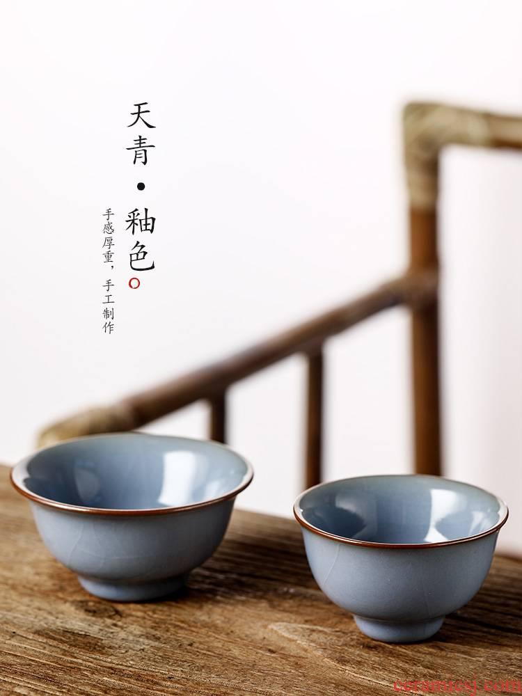 Master kung fu tea cup jingdezhen checking sample tea cup single CPU open piece of azure glaze single use individual cup