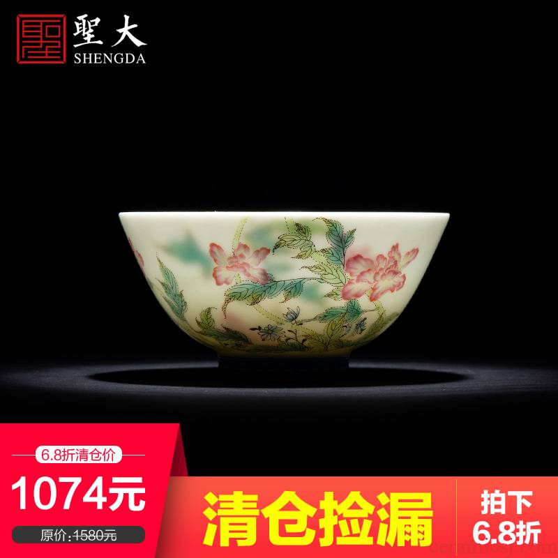 St the teacups hand - made flowers famille rose corn poppy ceramic kung fu master cup sample tea cup manual of jingdezhen tea service