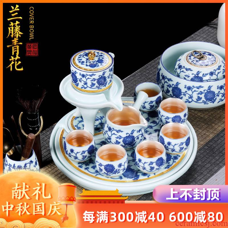 Blue and white paint coppering. As artisan fairy silver tea set automatically checking ceramic household lazy kung fu tea cups of a complete set of