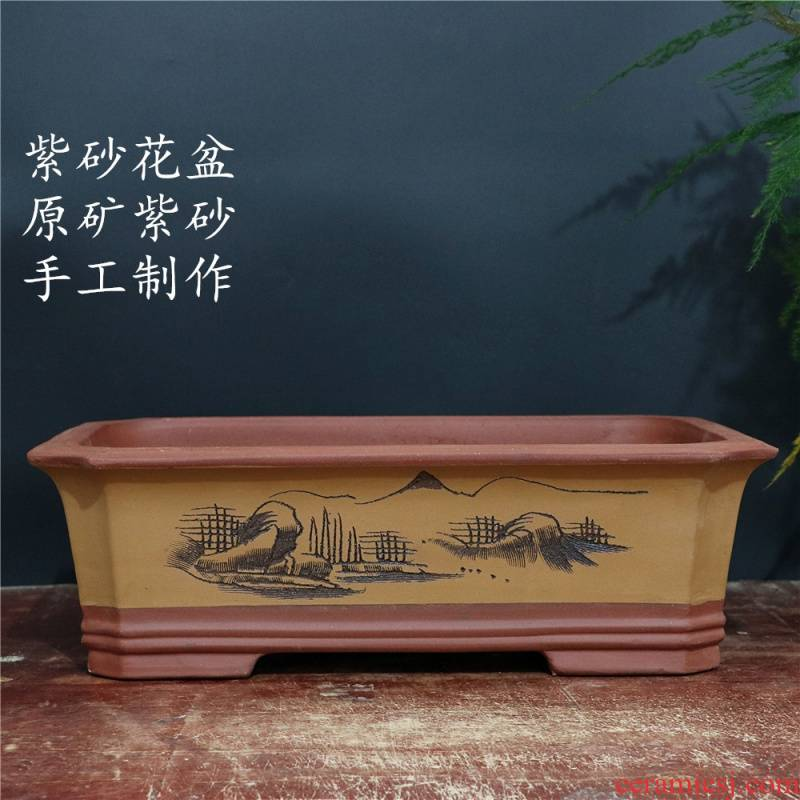 Yixing purple sand flowerpot rectangle indoor potted flower plant ceramic flower pot asparagus name plum calamus bonsai pot
