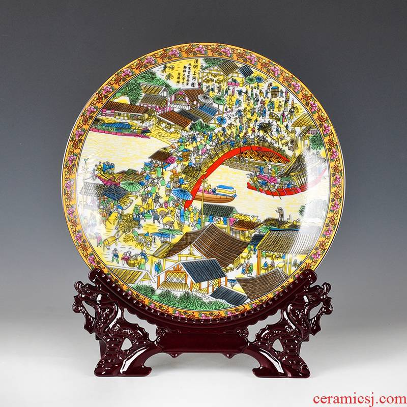 New Chinese style decoration furnishing articles hanging dish ceramic plate of creative dishes color clear painting wall act the role of background wall murals