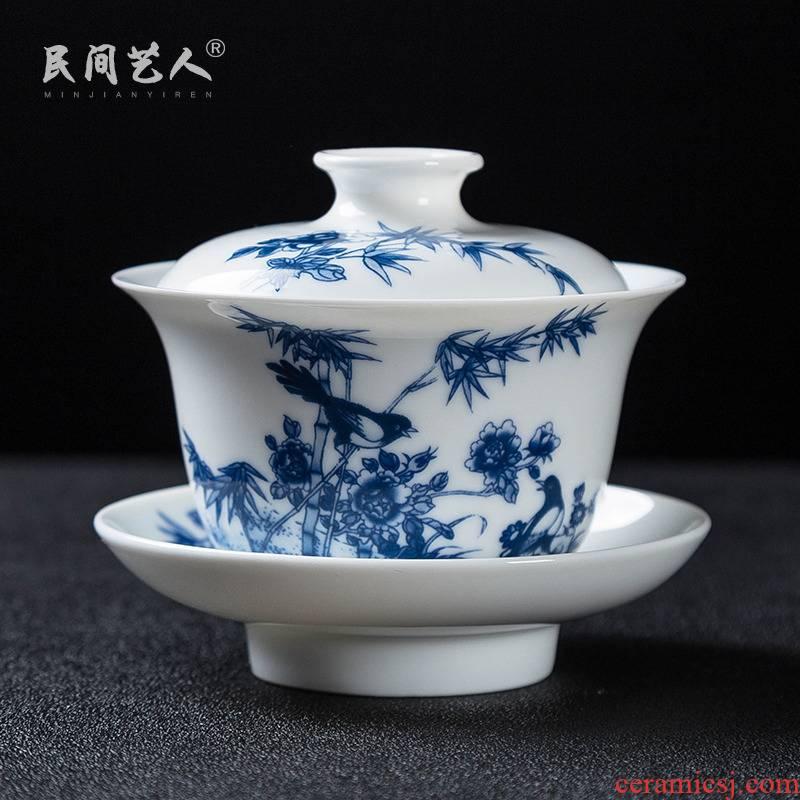 Jingdezhen ceramic glair tureen tea bowl of blue and white porcelain only three bowl to bowl kung fu tea tea