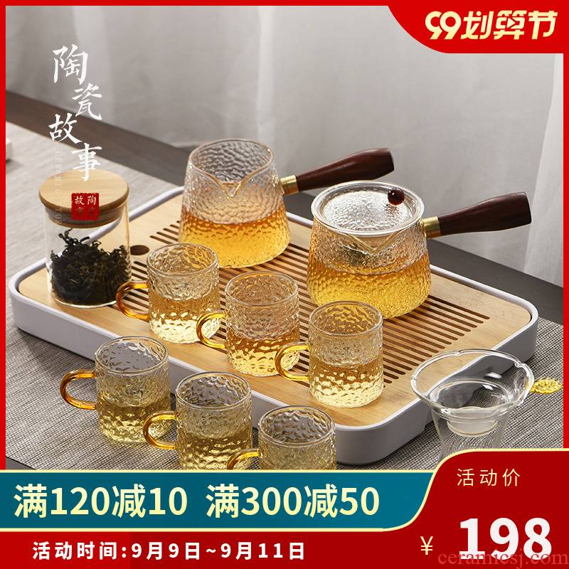 Ceramic story glass tea set household small side of the sitting room put the teapot tea tray of a complete set of tea cups kung fu tea set
