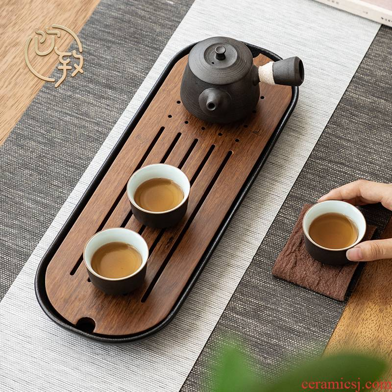 Ultimately responds to tea tray of black ceramic water type dry terms plate household kung fu tea set contracted small tea table sea bamboo tea tray
