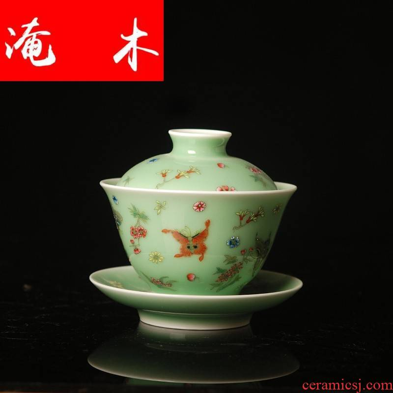 Submerged wood jingdezhen ceramic tea set hand made green glaze enamel butterfly three tureen large ceramic bowl cups worship
