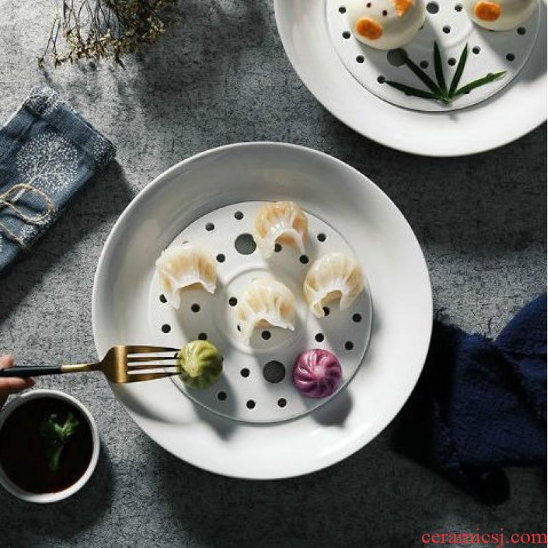 Double plate creative ceramic tableware household dumpling dish drop large circular plate plate plate dumpling dishes