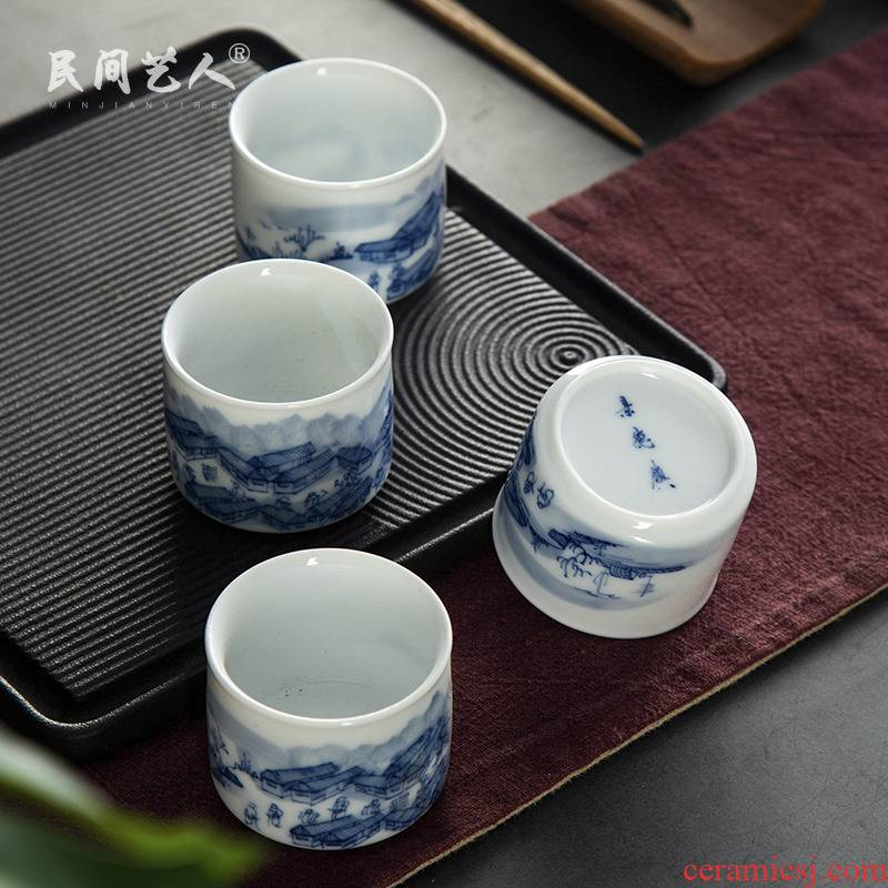 Kung fu noggin high - white master cup ceramic cups individual single cup bamboo cup sample tea cup tea cup