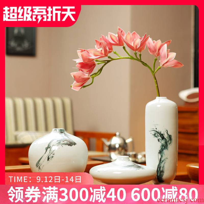 New Chinese style sitting room TV cabinet study zen ceramic vase flower arranging furnishing articles household act the role ofing is tasted version into gifts