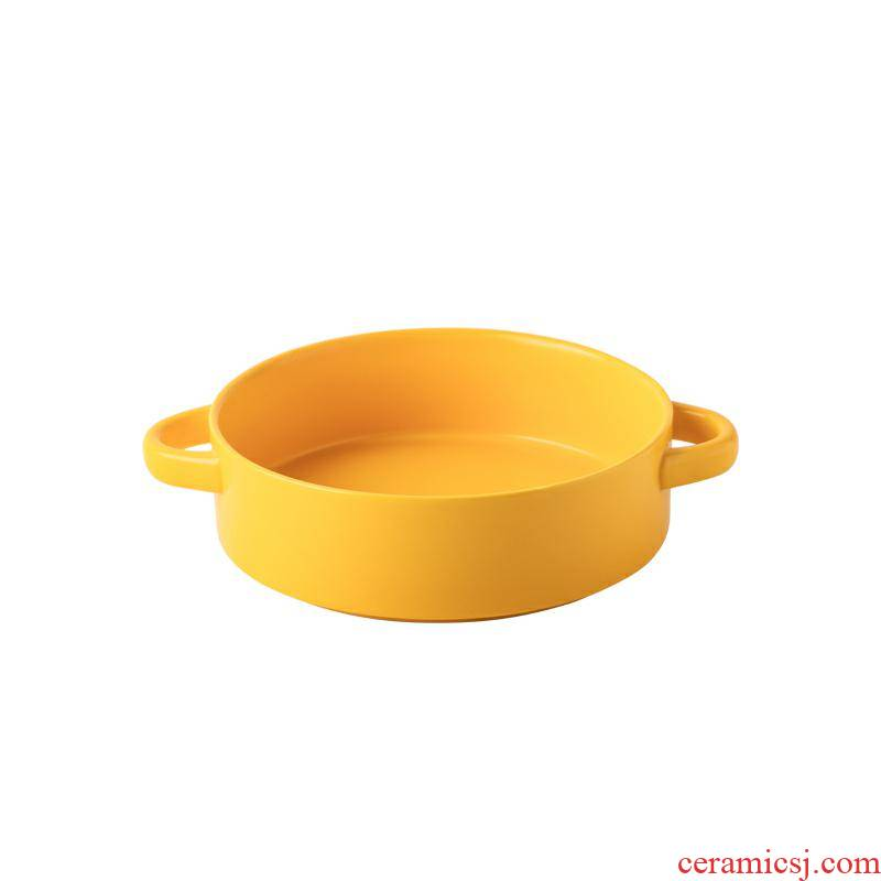 Nordic ears ins ceramic plate western soup plate tray is deep dish home baking dish plate of fruit salad plate