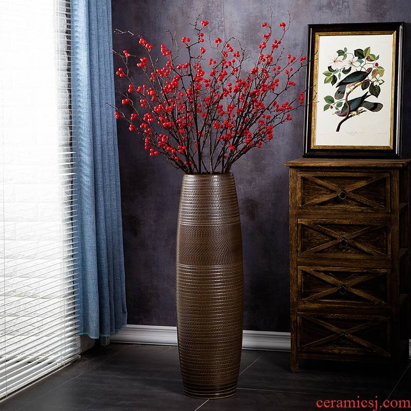 Jingdezhen ceramic vase landing large modern contracted household dry flower arranging flowers sitting room porch decoration furnishing articles