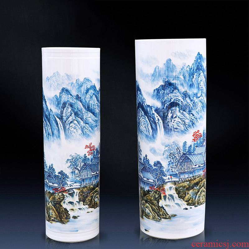 Jingdezhen ceramics hand - made large blue and white porcelain vase straight sitting room ground hotel furnishing articles ornament