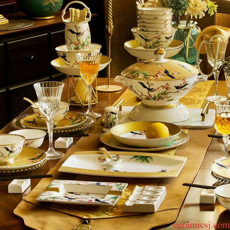European dishes suit household jingdezhen ceramics tableware light key-2 luxury Chinese key-2 luxury up phnom penh bowls of ipads plate