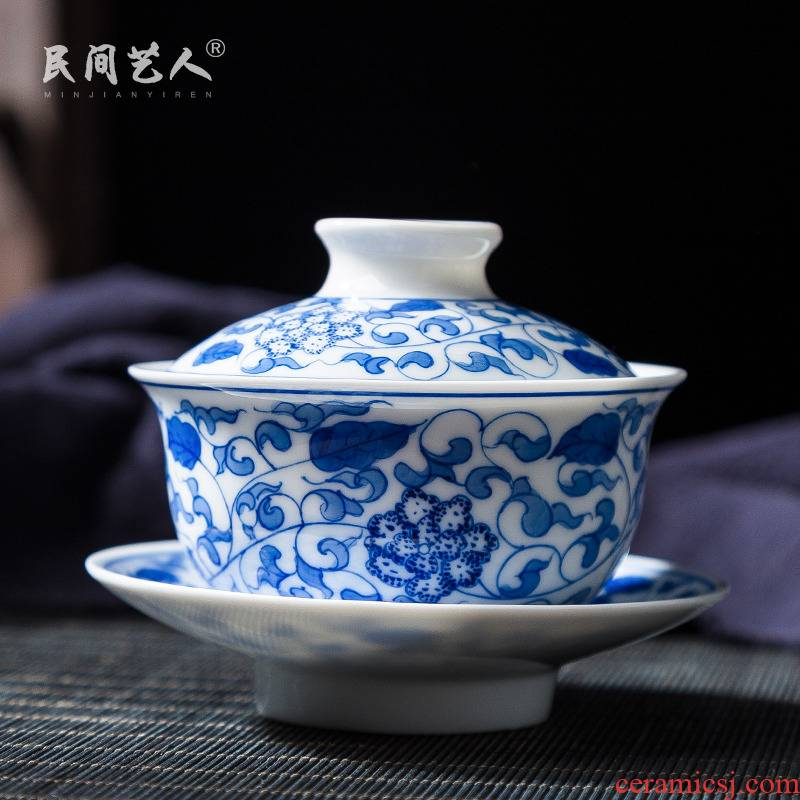 Jingdezhen ceramic hand - made three series of finger bowl to bowl of blue and white tie up branches kunfu tea cup cup tureen