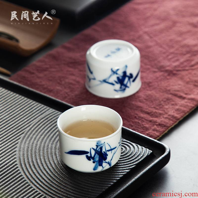 Kung fu tea cups jingdezhen blue and white porcelain ceramic sample tea cup hand - made bamboo small tea cup white porcelain master CPU