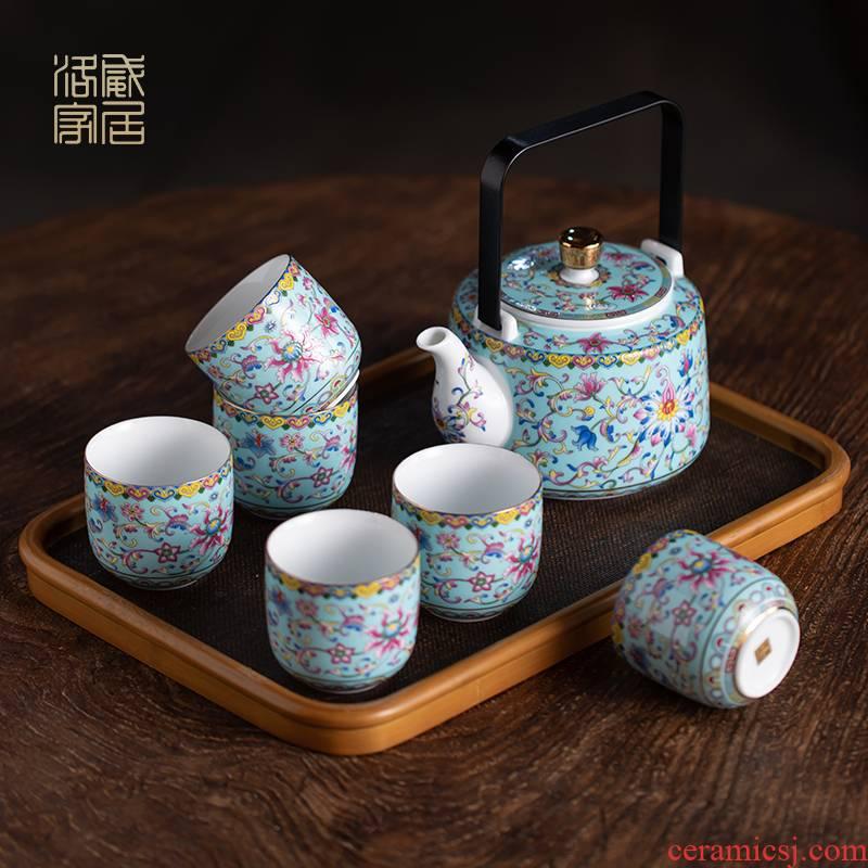 Tea set home sitting room colored enamel teapot jingdezhen ceramic teapot teacup high end of a complete set of Tea service