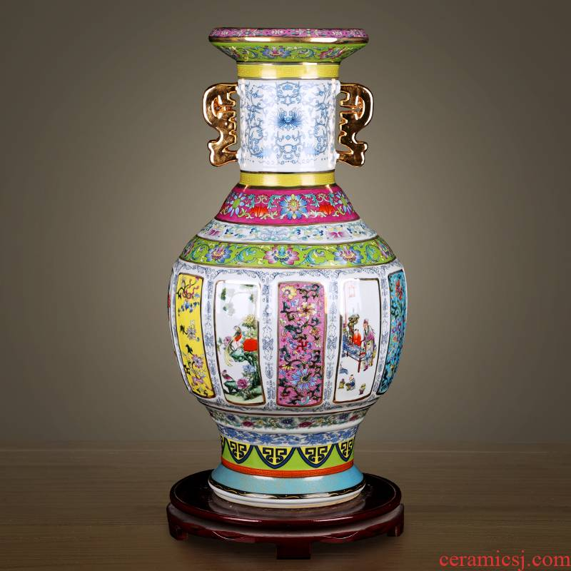 Colored enamel porcelain vase classical jingdezhen qianlong copy antique home sitting room adornment study furnishing articles