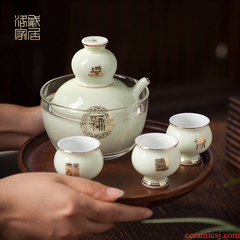 The new 2020 wine suits for Chinese liquor cup small jingdezhen high - grade he its drank hot hip household gifts