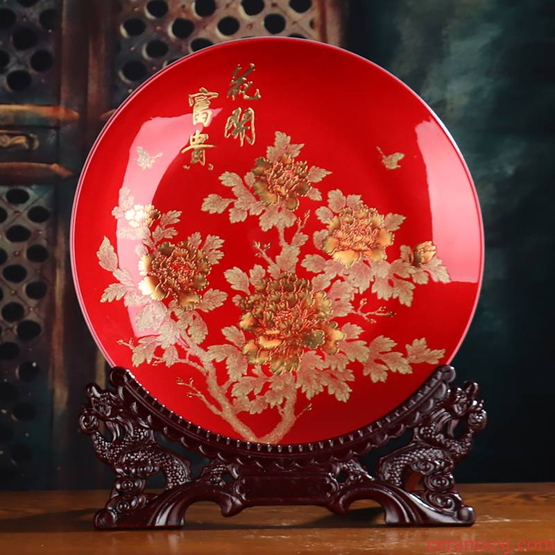Sands peony large decorative plate crystal glazed pottery China wine crafts rich ancient frame sitting room porch