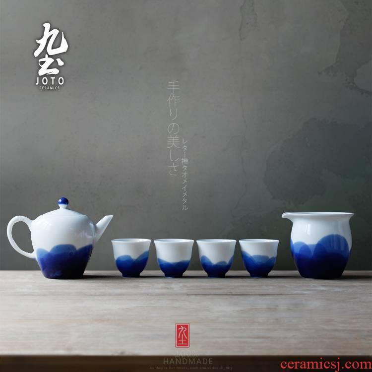 About Nine soil blue - and - white checking ceramic tea set fair zen landscape painting the teapot tea cup cup jingdezhen kung fu tea cups