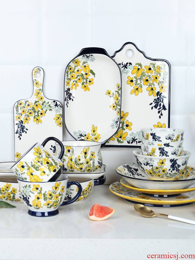 Japanese flower numerous series of baking hand - made ceramic tableware pull rainbow such as bowl bowl plates mugs ceramic bowls plates
