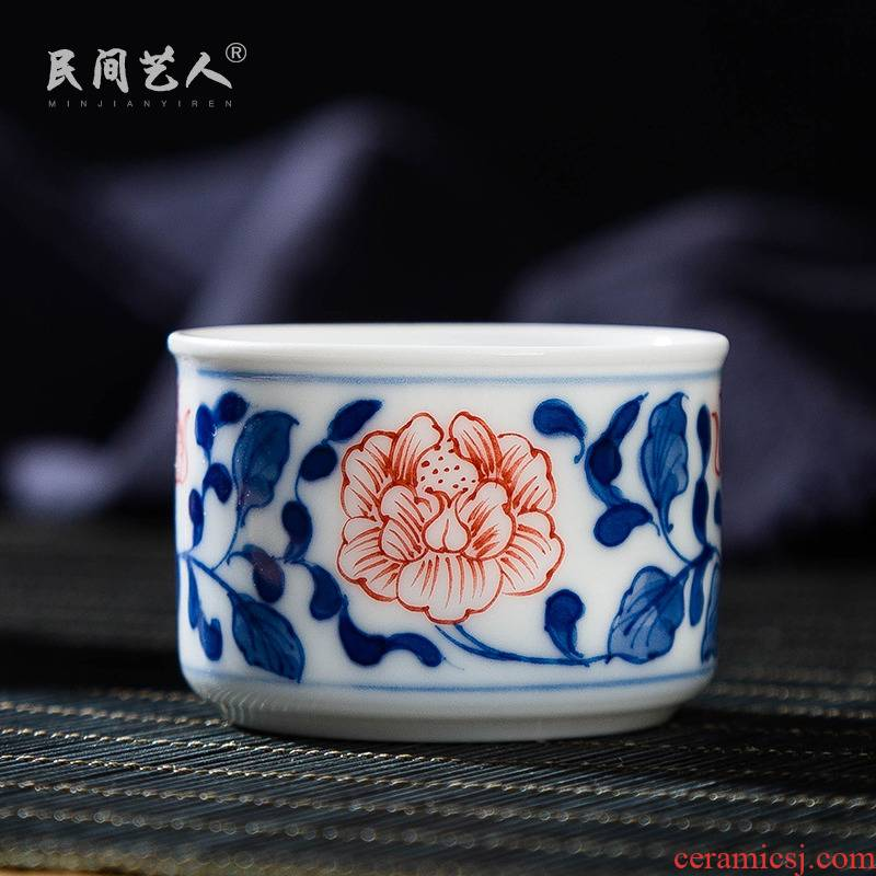 Hand - made youligong blue and white bamboo kung fu tea set single cup cup cup of jingdezhen ceramics masters cup small bowl