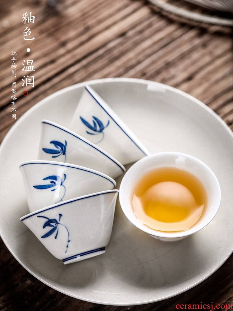 Pure manual master cup single cup in true up jingdezhen blue and white orchid hand sample tea cup single female kung fu tea cups