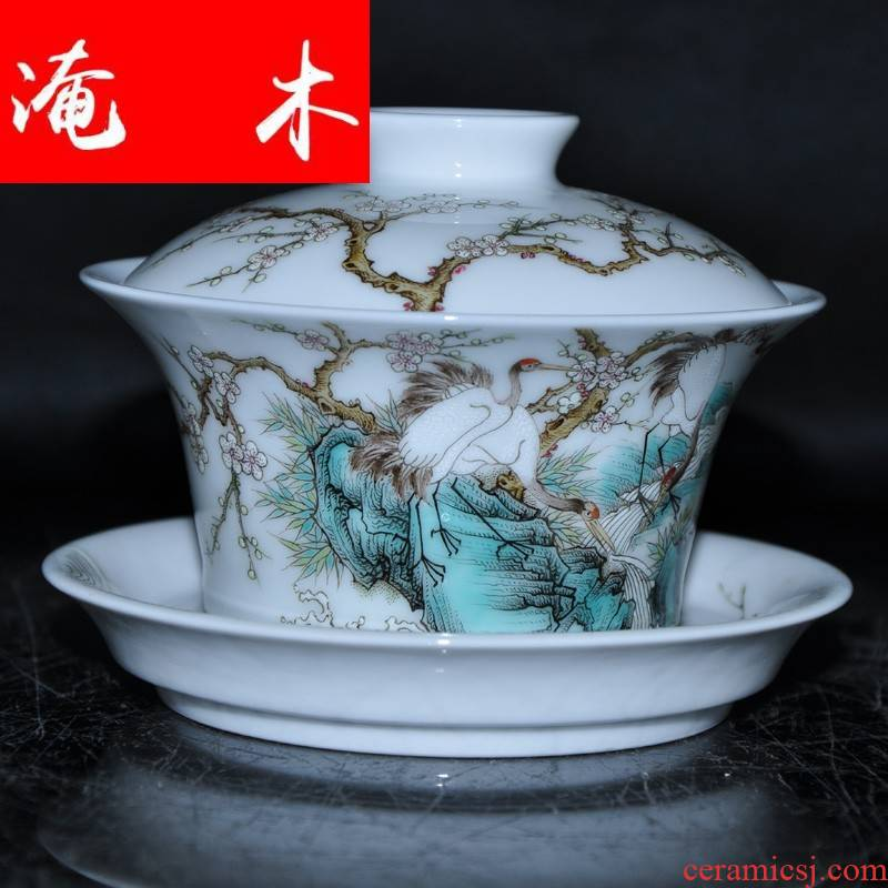 "Flooded jingdezhen famous Jin Hongxia hand - made wooden g famille rose porcelain tea tureen only three cup ""crane, mei"""