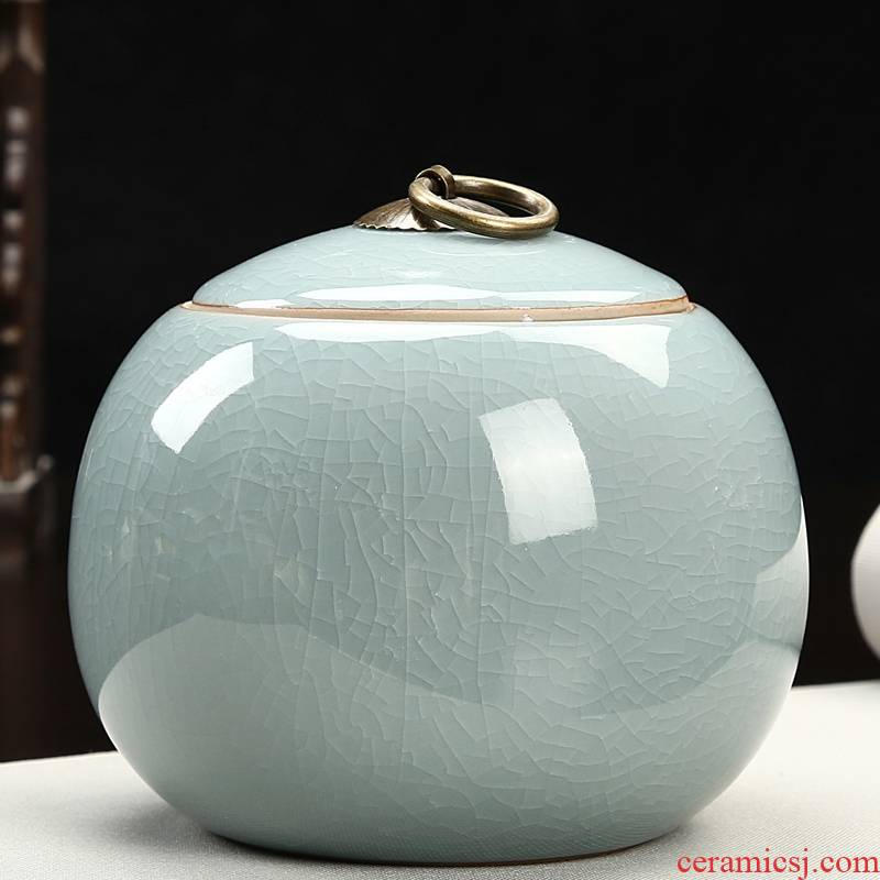 Qiao mu ceramic tea pot seal storage tank small size portable caddy fixings household elder brother up with tea POTS