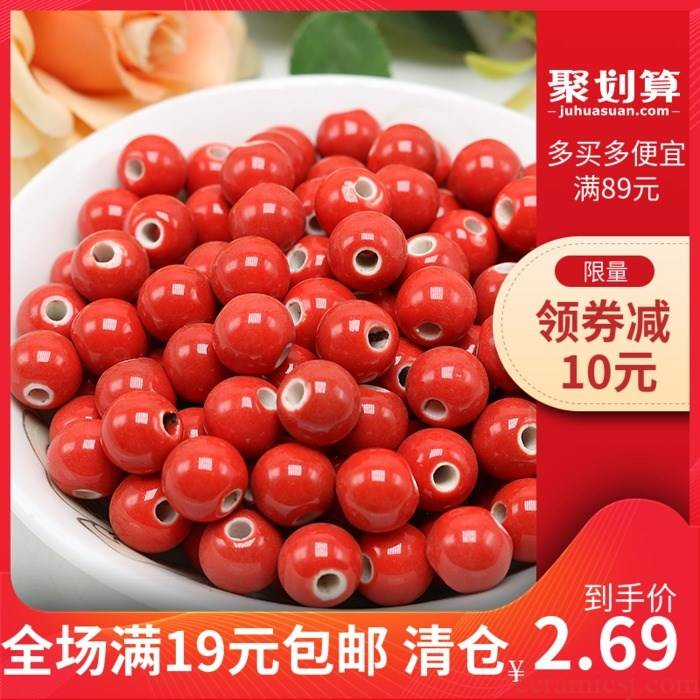 Steel smooth big red Chinese porcelain beads round red ceramic beads round bead son diy bracelet necklace beads