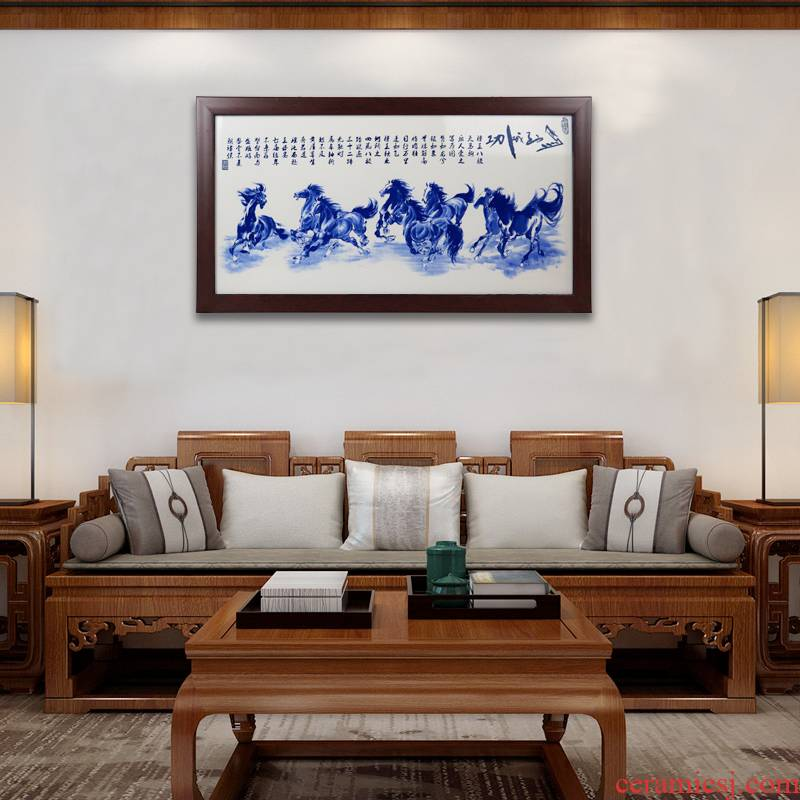 The Business needs of new Chinese style adornment sitting room hangs a picture of jingdezhen ceramic painting heart sutra sofa setting wall painting murals