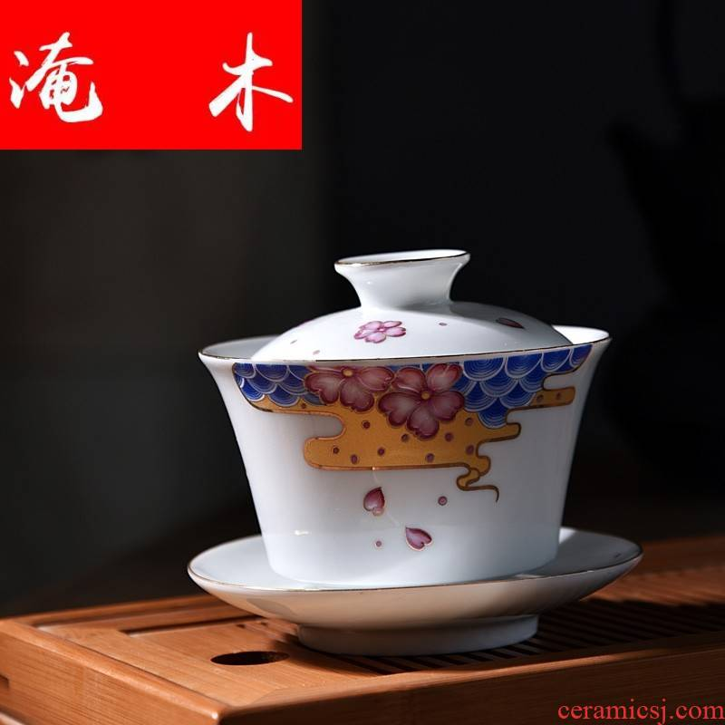 Submerged wood jingdezhen hand - made only three tureen pure manual white porcelain ceramic tea cups hot famille rose tea set