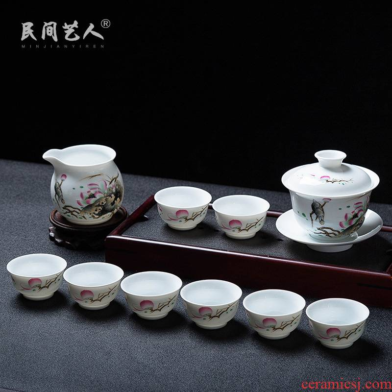 Jingdezhen tea of a complete set of suit household contracted tureen cups office modern kung fu tea set of groups of six
