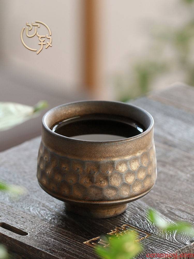 Tea ultimately responds to gold coarse pottery restoring ancient ways, large personal master cup single CPU ceramic cups sample Tea cup Tea set. A single