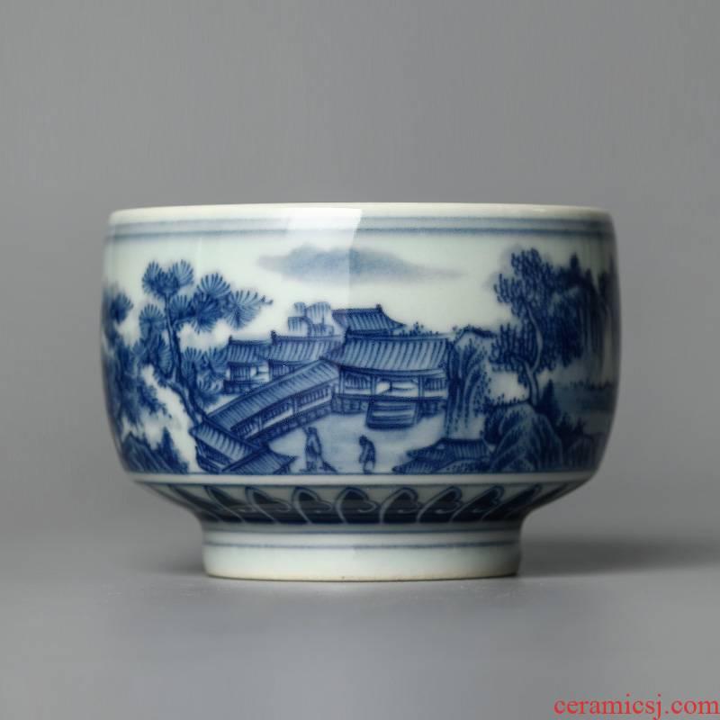 Blue and white master kung fu tea cup of pure manual sample tea cup single CPU jingdezhen hand - made ceramic tea set large landscapes