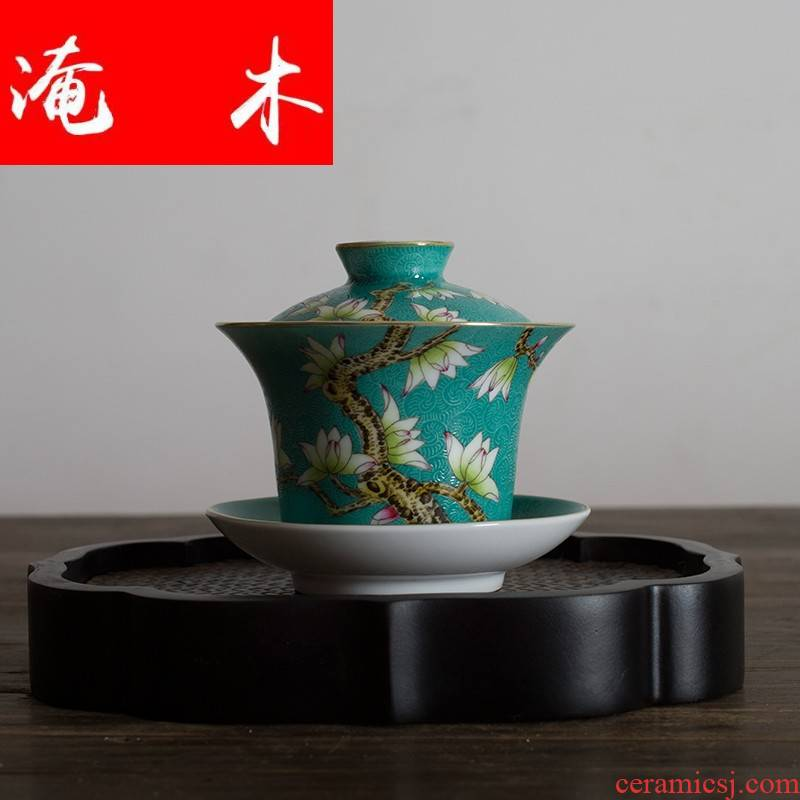 Submerged wood grilled jingdezhen ceramic tea set manually hand - made pastel flowers demand tureen archaize size three bowls