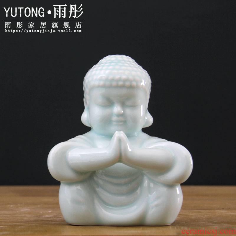 Jingdezhen Chinese manual shadow celadon of Buddha decoration ceramics furnishing articles [making porcelain decoration hand] praise f express little Buddha