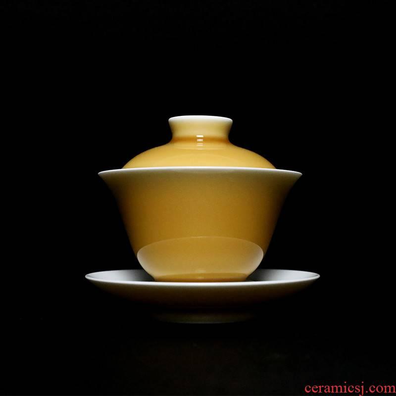 The Poly real view jingdezhen yellow glaze ceramic tea set three white porcelain tureen single pure manual tea bowl cups
