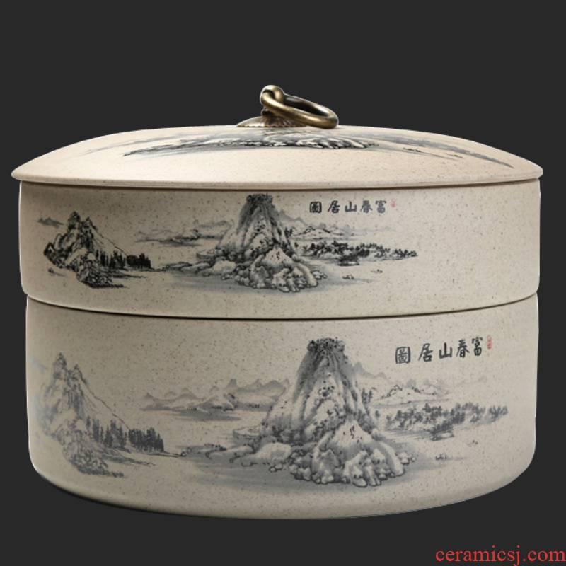 Ya xin household violet arenaceous caddy fixings tea caddy fixings puer tea tea cake tin box seal pot store tea POTS and POTS