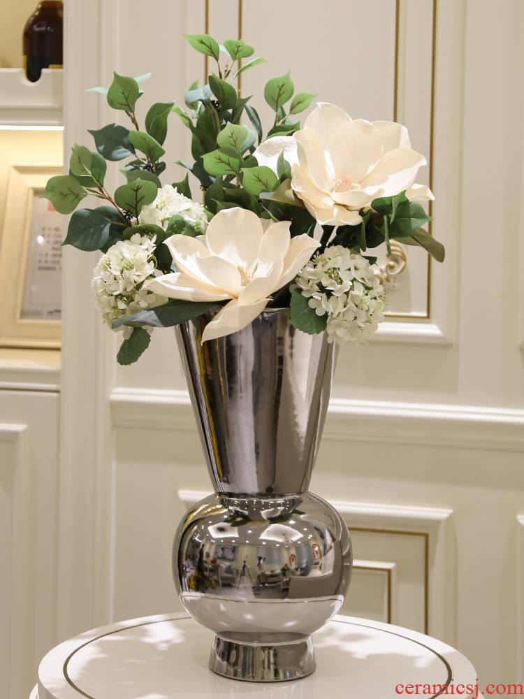 I and contracted light key-2 luxury electroplating silver flower implement the ceramic vase furnishing articles example room floor porch soft decoration